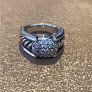 David Yurman Retired SS/Diamond Cable Band Ring